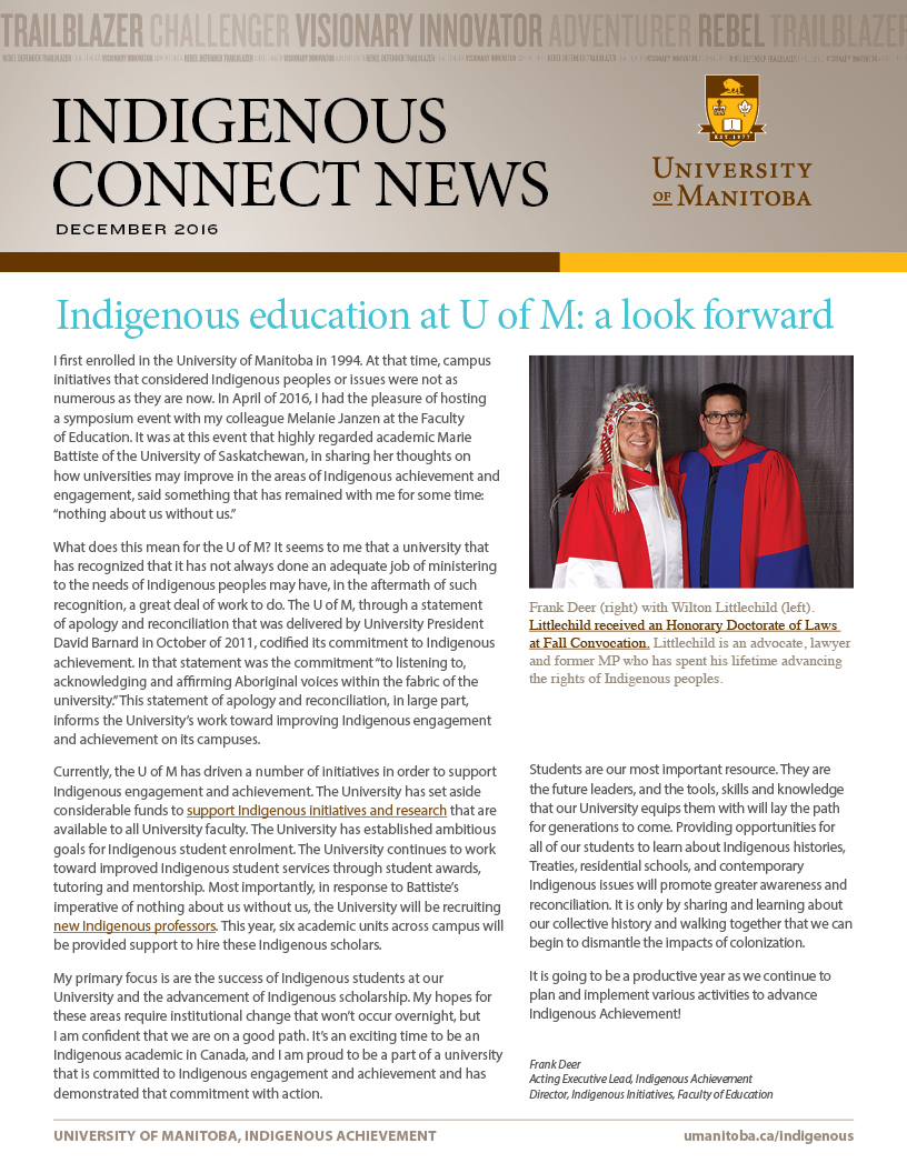 Indigenouc Connect Newsletter - December 2016 front page - click to review full document