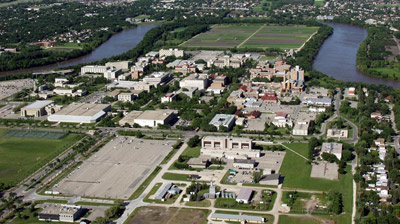 Aerial shot of Fort Garry Campus
