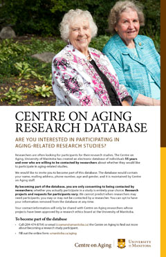 Become a participant for aging related studies with Centre on Aging researchers