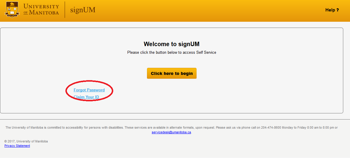 SIGN UM login page screenshot with the link Forgot Password circled in red