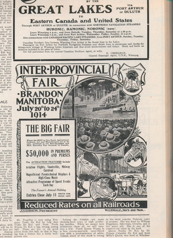 "Advertisement of the ""Inter-Provincial Fair"" held in Brandon, Manitoba, July 20-24, 1914"