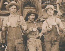 La Salle threshing crew, close up