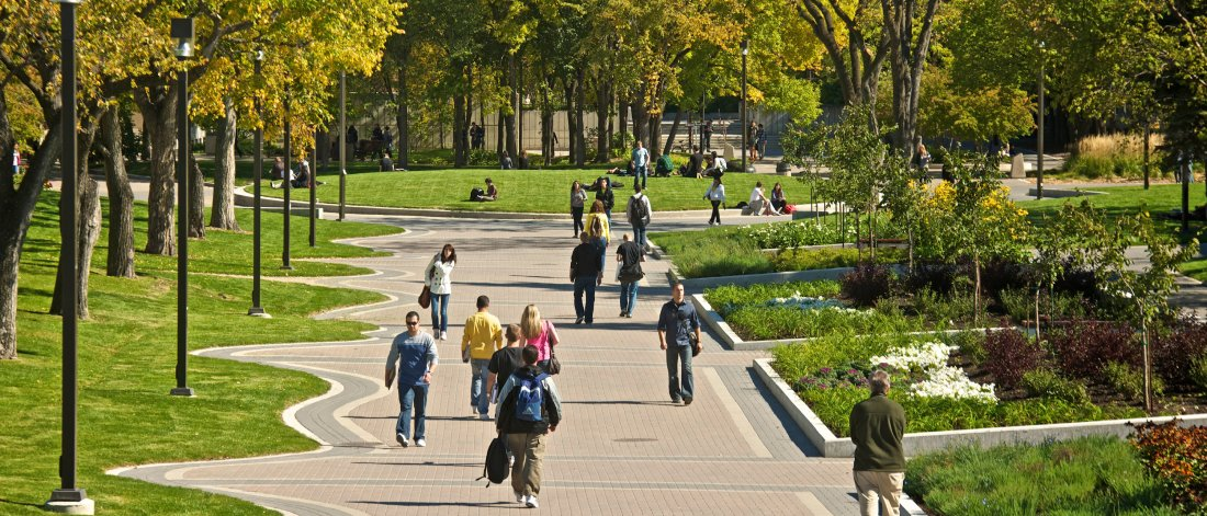 Students walking at University of Manitoba Fort Garry campus