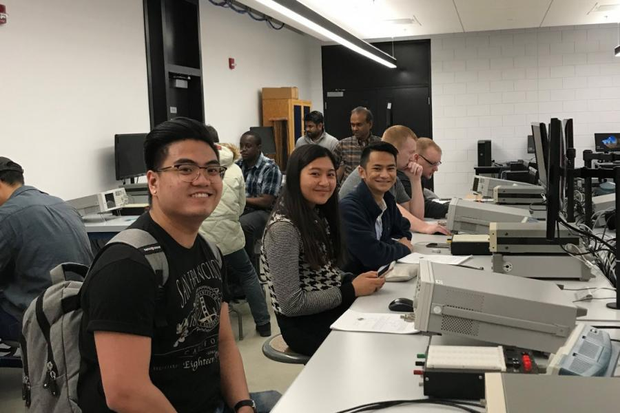 Students in their first classes in the new Stanley Pauley Engineering Building