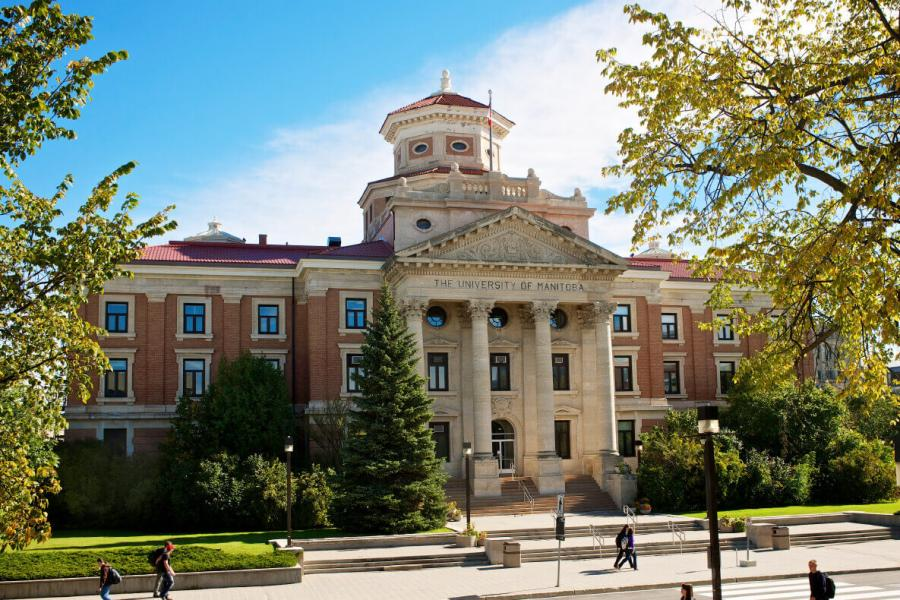 Front view of University Manitoba Administration Building on a sunny summer day