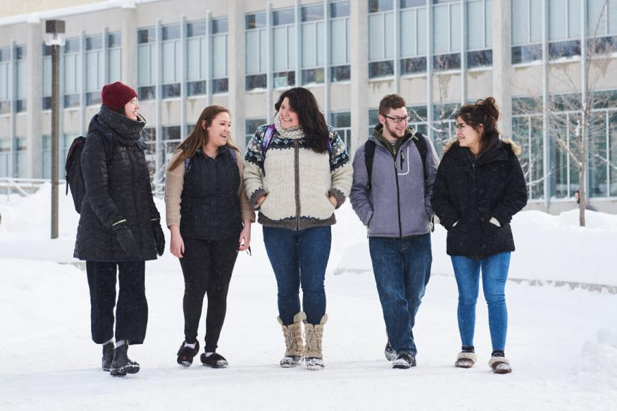Group of smiling students walking on a snowy path