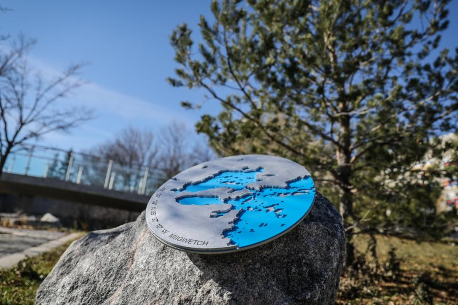 Indigenous art installation on the Fort Garry campus at the University of Manitoba.