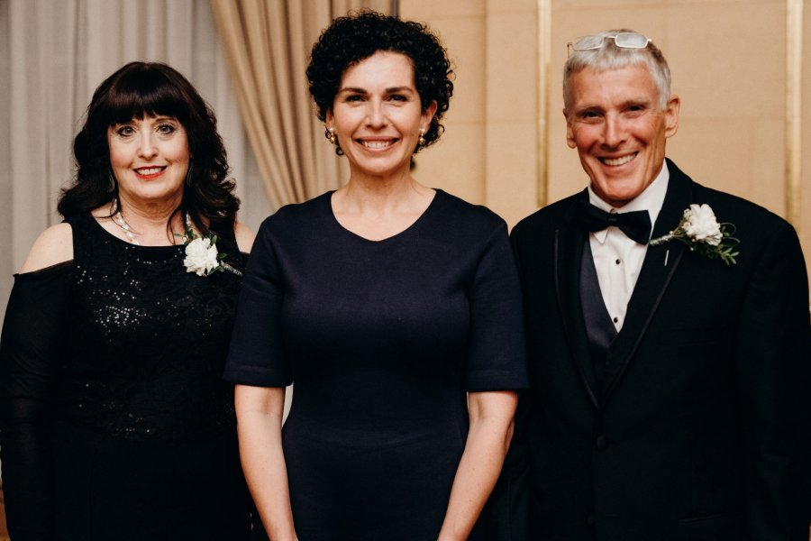 (L TO R) SHERYL SLOSHOWER, AWARD WINNER FOR DENTAL HYGIENE, DR. ANASTASIA KELEKIS-CHOLAKIS, DEAN OF DENTISTRY, AND DR. KEN STONES, AWARD WINNER FOR DENTISTRY.