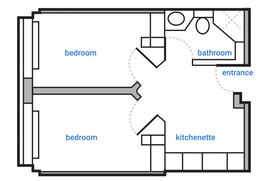 Schematic floorplan of a double occupancy suite in the Arthur V. Mauro Residence. Suite features a shared bathroom to the right of the main entrance and an open kitchenette to the left with separate entrances to two private bedrooms off the common area.