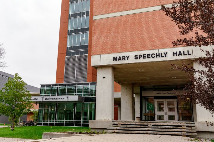 The front entrance of Mary Speechly Hall.
