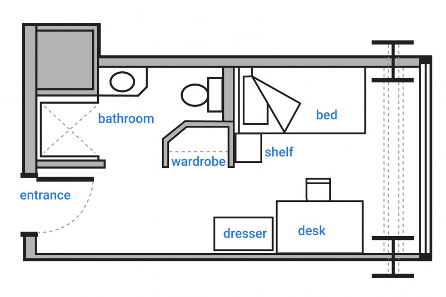 Schematic floorplan of a single occupancy room in Pembina Hall Residence. Room features a private bathroom with shower and a wardrobe to the left of the entrance. A dresser, desk, shelf and bed are at the end of the room with a large window filling the back wall.