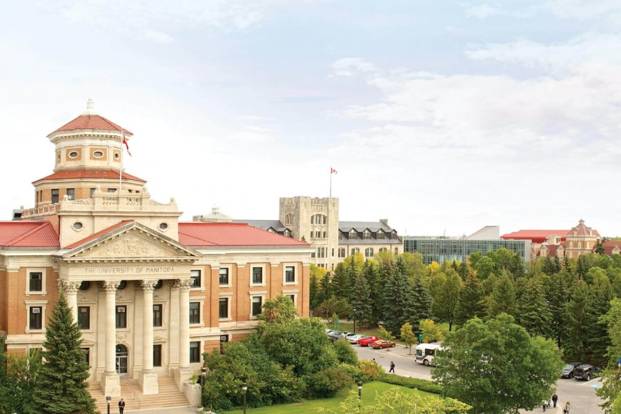 A panoramic view of the University of Manitoba Fort Garry campus.